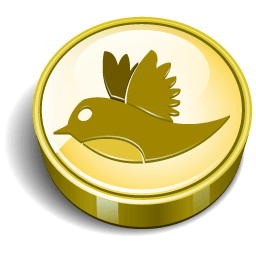 Twitter Bird Gold Coin Sticker