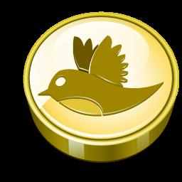 Twitter Bird Gold Coin Sticker