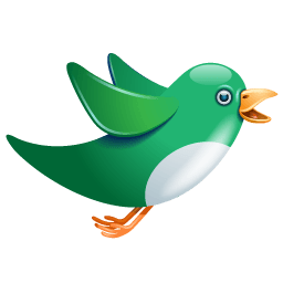 Twitter Bird Flying Green Sticker