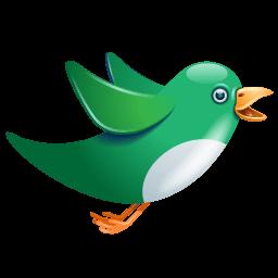 Twitter Bird Flying Green Sticker