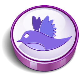 Twitter Bird Purple Coin Sticker
