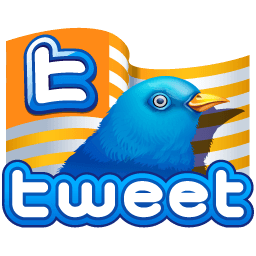 Twitter Flag Gold Sticker