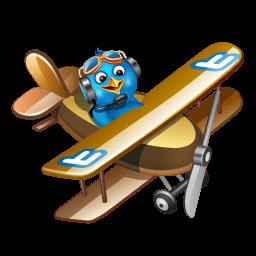 Twitter Plane Brown Sticker