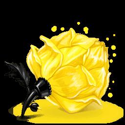 Box Rose Yellow Sticker