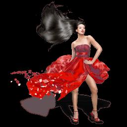 Girls Red Dress Sticker