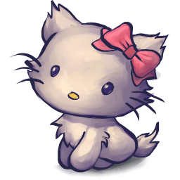Kitty Red Bow Sticker