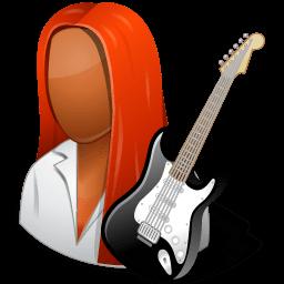 Occupations Guitarist Female Dark Sticker