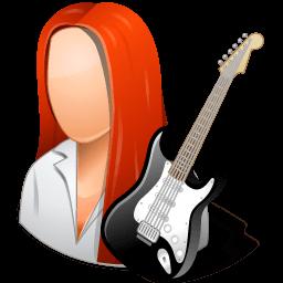 Occupations Guitarist Female Light Sticker