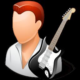 Occupations Guitarist Male Light Sticker