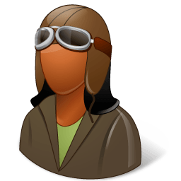 Occupations Pilot Oldfashioned Female Dark Sticker
