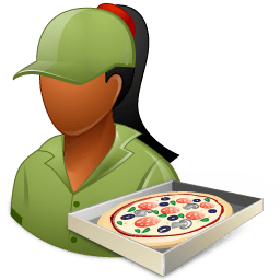 Occupations Pizza Deliveryman Female Dark Sticker