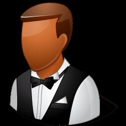 Occupations Waiter Male Dark Sticker