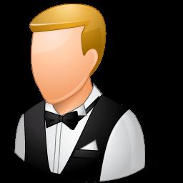 Occupations Waiter Male Light Sticker