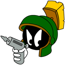 Marvin Martian Angry With Gun Sticker