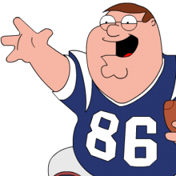 Peter Griffin Football Zoomed Sticker