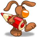 Rabbit Red Color Pencil Sticker