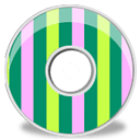 Disk Pink Green Stripes Sticker