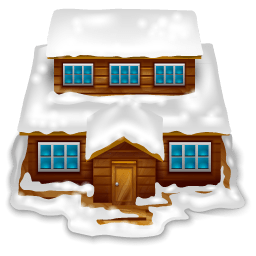 House With Snow Sticker