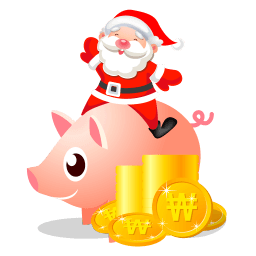 Santa Piggy Bank Sticker