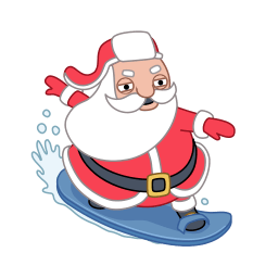 Santa Surfer Sticker