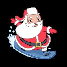 Santa Surfer Sticker