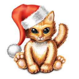 Kitty With Santa Hat Sticker
