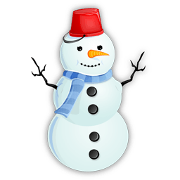 Snowman Red Bucket Sticker