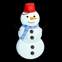 Snowman Red Bucket Sticker