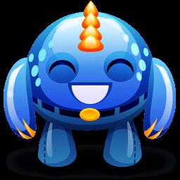 Blue Monster Happy Sticker