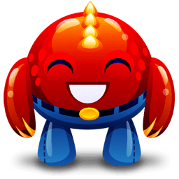Red Monster Happy Sticker