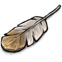 Gold And White Feather Sticker