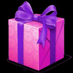 Pink And Purple Gift Box Sticker