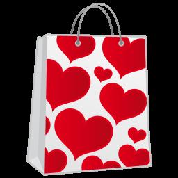 Hearts Shoppingbag Sticker