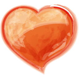 Heart Orange Sticker