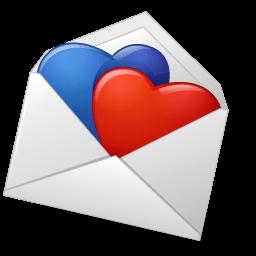 Mailenvelope Hearts Bluered Sticker
