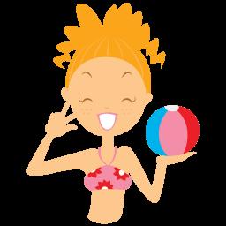 Beach Girl Ball Sticker