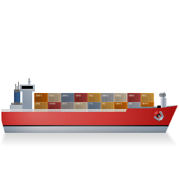 Container Ship Right Red Sticker
